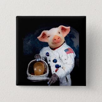 Bóton Quadrado 5.08cm Porco do astronauta - astronauta do espaço