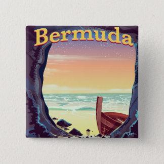 Bóton Quadrado 5.08cm Poster de viagens da caverna do pirata de Bermuda
