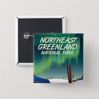 Bóton Quadrado 5.08cm Poster de viagens do nordeste de Greenland