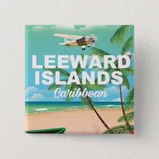 Bóton Quadrado 5.08cm Poster de viagens retro das ilhas de Leeward