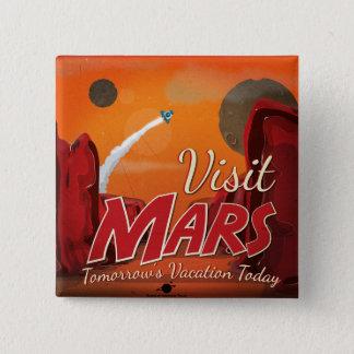 Bóton Quadrado 5.08cm Poster vintage de Marte da visita