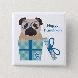 Bóton Quadrado 5.08cm Presente do Pug de Hanukkah