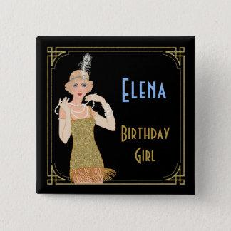 Bóton Quadrado 5.08cm Preto do brilho do ouro do Flapper dos anos 20