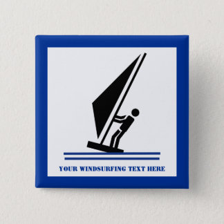 Bóton Quadrado 5.08cm Preto do Windsurfer a bordo, windsurfing azul