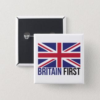 Bóton Quadrado 5.08cm Primeira bandeira BRITÂNICA MBGA Union Jack de Grâ
