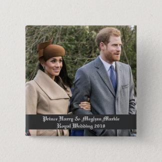 Bóton Quadrado 5.08cm Príncipe Harry & casamento real 2018 de Meghan