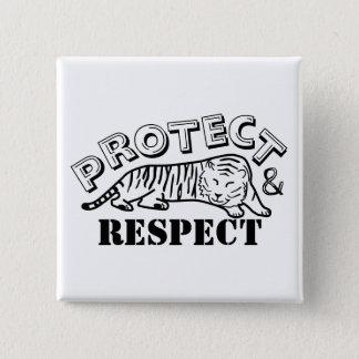 Bóton Quadrado 5.08cm Proteja e respeite