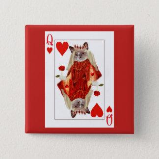 Bóton Quadrado 5.08cm Rainha do gatinho do botão dos corações
