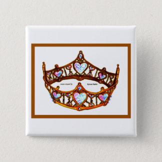 Bóton Quadrado 5.08cm Rainha do pino branco do botão da tiara da coroa