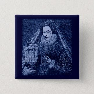 Bóton Quadrado 5.08cm Rainha Elizabeth mim no azul