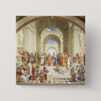 Bóton Quadrado 5.08cm Raphael - A escola de Atenas 1511