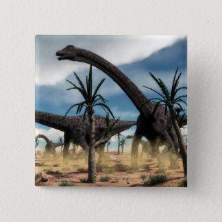 Bóton Quadrado 5.08cm Rebanho dos dinossauros do Diplodocus no deserto