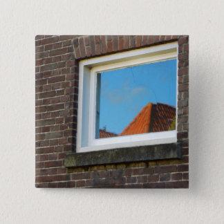 Bóton Quadrado 5.08cm Reflexão holandesa da janela da fotografia