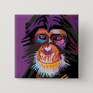 Bóton Quadrado 5.08cm Retrato colorido do macaco do pop art