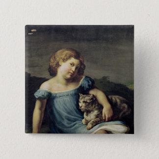 Bóton Quadrado 5.08cm Retrato de Louise Vernet como uma criança, 1818-19