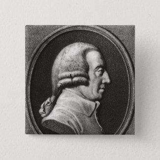 Bóton Quadrado 5.08cm Retrato de um medalhão de Adam Smith
