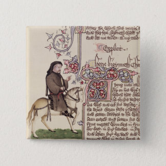 Bóton Quadrado 5.08cm Retrato do fac-símile de Geoffrey Chaucer de