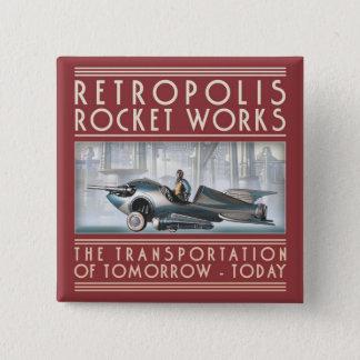 Bóton Quadrado 5.08cm Retropolis Rocket trabalha o botão quadrado