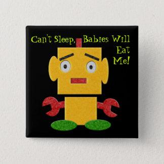 Bóton Quadrado 5.08cm Robô retro bonito - amarelo - sono chanfrado