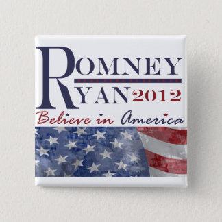 Bóton Quadrado 5.08cm Romney - botão de Ryan 2012