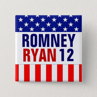 Bóton Quadrado 5.08cm Romney Ryan 2012