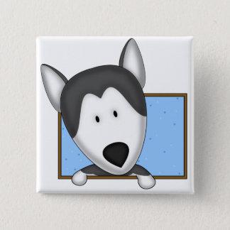 Bóton Quadrado 5.08cm Rouco Siberian quadro dos desenhos animados