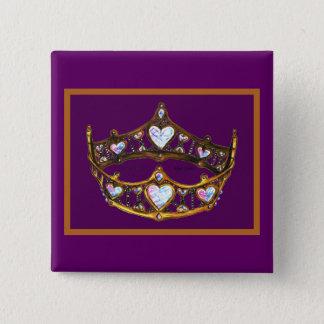 Bóton Quadrado 5.08cm Roxo real da tiara da coroa do ouro amarelo dos
