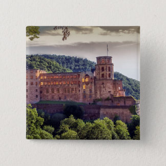 Bóton Quadrado 5.08cm Ruínas famosas do castelo, Heidelberg, Alemanha