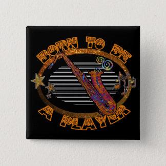 Bóton Quadrado 5.08cm Saxofone ID281 do jogador