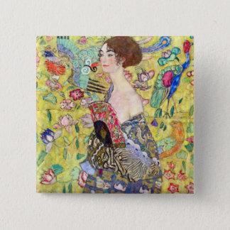 Bóton Quadrado 5.08cm Senhora com o fã por Gustavo Klimt