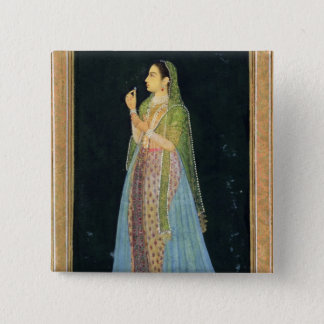 Bóton Quadrado 5.08cm Senhora que guardara uma flor, do álbum pequeno de