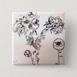 Bóton Quadrado 5.08cm Sepultura florido