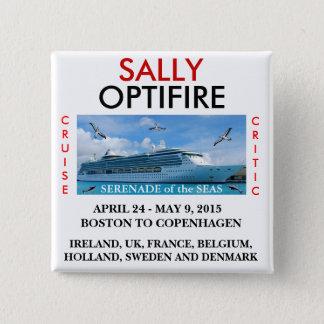Bóton Quadrado 5.08cm Serenade do botão do nome de etiqueta dos mares