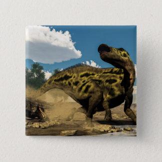 Bóton Quadrado 5.08cm Shantungosaurus que defende do tarbosaurus