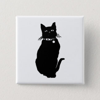 Bóton Quadrado 5.08cm Silhueta do gato