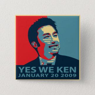 Bóton Quadrado 5.08cm Sim nós botão de Ken (Obama)