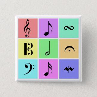 Bóton Quadrado 5.08cm símbolos de música pastel