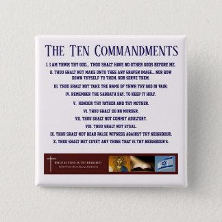 """Bóton Quadrado 5.08cm Sinais bíblicos de """"botão dez mandamentos"""" (AZUL)"""