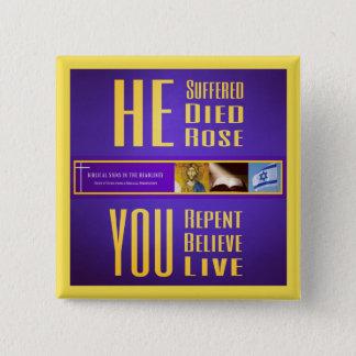 """Bóton Quadrado 5.08cm Sinais bíblicos """"Died/YOU vive"""" botão (o amarelo)"""