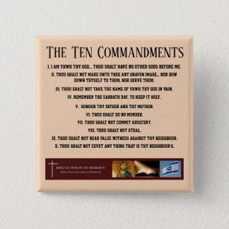 """Bóton Quadrado 5.08cm Sinais bíblicos ITH de """"botão dez mandamentos"""""""