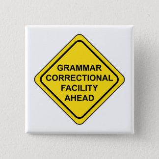 Bóton Quadrado 5.08cm Sinal de aviso da gramática