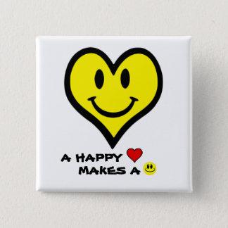Bóton Quadrado 5.08cm Smiley do coração/cara feliz