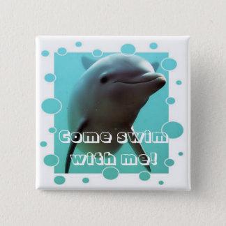 Bóton Quadrado 5.08cm Smiley o golfinho!