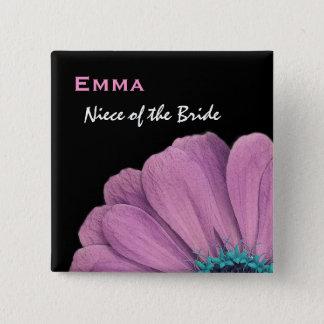 Bóton Quadrado 5.08cm Sobrinha do casamento da margarida do rosa da