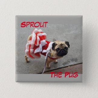 Bóton Quadrado 5.08cm Sprout em um vestido vermelho