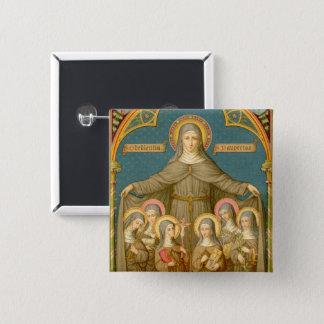 Bóton Quadrado 5.08cm St. Clare de Assisi & das freiras (SAU 027)