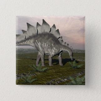 Bóton Quadrado 5.08cm Stegosaurus com fome - 3D rendem