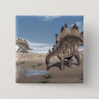 Bóton Quadrado 5.08cm Stegosaurus perto da água - 3D rendem