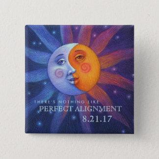Bóton Quadrado 5.08cm Sun e alinhamento perfeito do eclipse da lua
