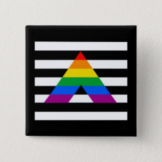 Bóton Quadrado 5.08cm Suporte reto do gay da bandeira LGBT do aliado
